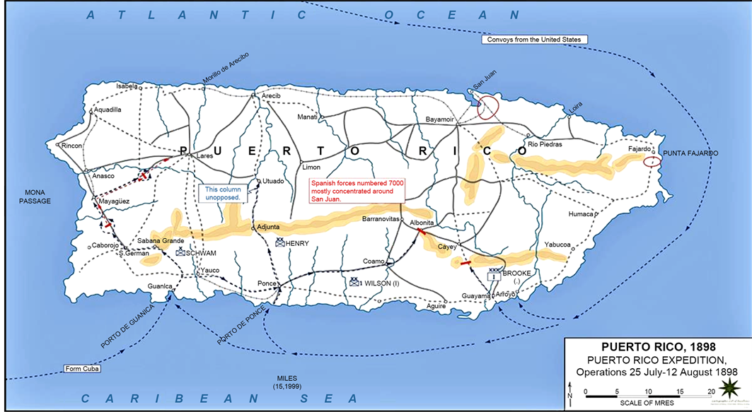 The impact on cayey puerto rico of the spanish american war the us army invasion routes and battle lines 1898 post source emerson k 2011 maps of the spanish american war puerto rico 1898 gumiabroncs Images