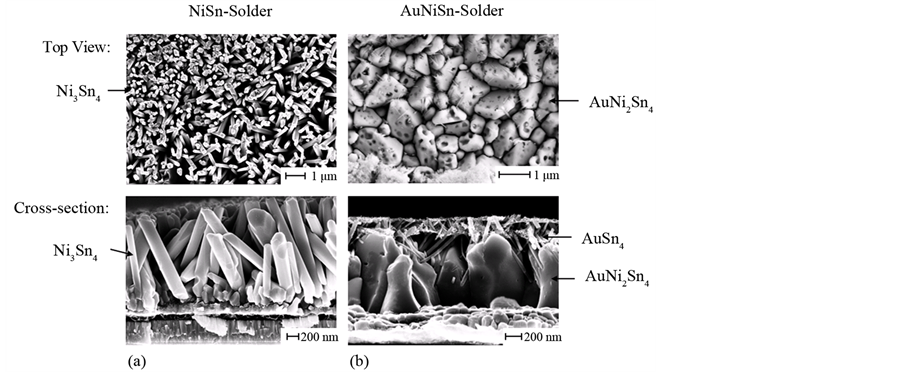 Changing the growth behavior of a nisn solder using gold top view and cross sectional sem images of etched samples annealed at 290c for 10 s a nisn solder and b aunisn solder stopboris Gallery