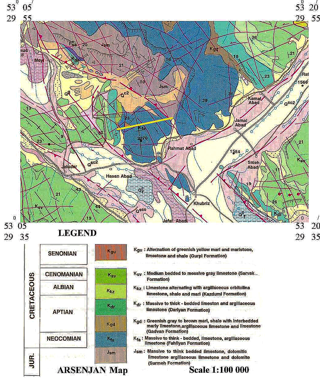 geological map of fahliyan formationo utcrop in stratigraphic section of kuh e siah adopted from arsanjan 1100000 map geological survey and mineral